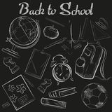 Vector Hand Drawn School chalk sketch chalkboard doodle collection. Back to school. Stock Photo