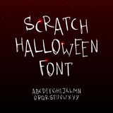 Vector hand drawn scratchy Halloween font. Stock Photo