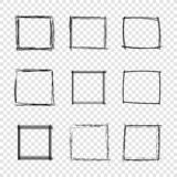 Vector Hand Drawn Scribble Square Frames on Transparent Background. stock photography