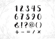 Vector Hand Drawn Script Numbers from 0 to 9. Digits Written wit Stock Photo