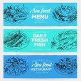 Vector hand drawn sea food Illustration. Vector hand drawn sea food banners set. Vintage style. Retro food background. Sketch Royalty Free Stock Photos