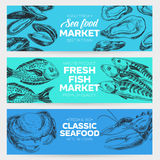 Vector hand drawn sea food Illustration. Vector hand drawn sea food banners set. Vintage style. Retro food background. Sketch Royalty Free Stock Photo