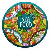 Vector hand-drawn sea food illustration. stock illustration