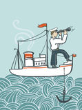 Vector hand drawn  sea poster with ship, waves and seaman. Stock Photos
