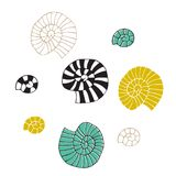 Vector hand drawn sea shells. Isolated individual objects. Clipart for greeting cards, weddings, stationery, surface design, scrapbooking. Part of a large sea royalty free illustration
