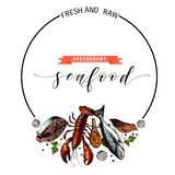 Vector hand drawn seafood banner.colored Lobster, salmon, crab, shrimp, octopus, squid, clams. Stock Photo