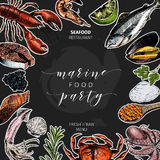 Vector hand drawn seafood banner.colored Lobster, salmon, crab, shrimp, octopus, squid, clams.Engraved art. Sticker. Round template Delicious menu objects Royalty Free Stock Image