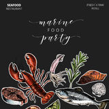Vector hand drawn seafood banner.colored Lobster, salmon, crab, shrimp, octopus, squid, clams.Engraved art. Sticker. Style. border template. Delicious menu Royalty Free Stock Photos