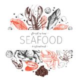 Vector hand drawn seafood banner. Lobster, salmon, crab, shrimp, ocotpus, squid, clams.Engraved art. In border composition. Delicious menu objects. Use for vector illustration