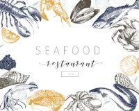 Vector hand drawn seafood banner.Lobster, salmon, crab, shrimp, ocotpus, squid, clams. Engraved art in square border composition.Delicious menu objects. Use for Royalty Free Stock Image