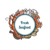 Vector hand drawn seafood elements stock illustration