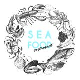 Vector hand drawn seafood logo. Lobster, salmon, crab, shrimp, ocotpus, squid, clams.Engraved art. In round border composition. Delicious menu objects. Use for Stock Photo