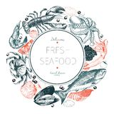 Vector hand drawn seafood logo. Lobster, salmon, crab, shrimp, ocotpus, squid, clams.Engraved art in round composition. Royalty Free Stock Photo