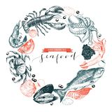 Vector hand drawn seafood logo. Lobster, salmon, crab, shrimp, ocotpus, squid, clams.Engraved art in round composition. Royalty Free Stock Photos