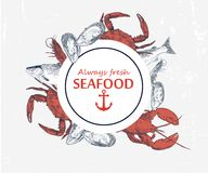 Vector hand drawn seafood logo. stock illustration