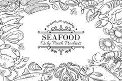 Vector hand drawn seafood restaurant menu illustration. Royalty Free Stock Images