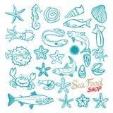 Vector hand drawn seafood shop. Vintage illustration Royalty Free Stock Image