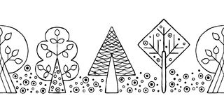 Vector hand drawn seamless border, pattern, decorative stylized black and white childish trees. Doodle sketch style, graphic illus Stock Photography