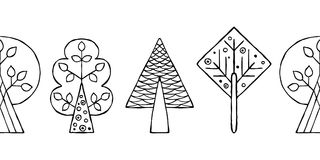 Vector hand drawn seamless border, pattern, decorative stylized black and white childish trees. Doodle sketch style, graphic illus Stock Photo