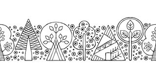 Vector hand drawn seamless border, pattern, decorative stylized black and white childish trees. Doodle sketch style, graphic illus Royalty Free Stock Photos