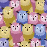 Vector Hand Drawn Seamless colorful owls Pattern. Vector Illustration Royalty Free Stock Photos