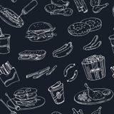 Vector hand drawn seamless pattern american cuisine. hot dog, hamburger and cheeseburger, sandwich, steak, sausage Stock Image