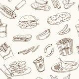 Vector hand drawn seamless pattern american cuisine. hot dog, hamburger and cheeseburger, sandwich, steak, sausage Royalty Free Stock Image