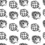 Vector hand drawn seamless pattern of artichokes. Farm vegetables. Engraved art. Organic sketched objects. restaurant, Stock Photos
