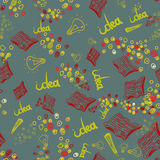 Vector hand drawn seamless pattern with book, lamp Stock Photos