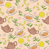 Vector hand drawn seamless pattern with coloured cup of tea, teapot, leaf and lemon Royalty Free Stock Image