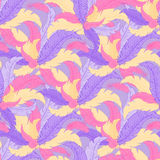 Vector hand drawn seamless pattern with coloured feathers Stock Image