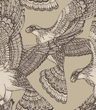 Vector hand drawn seamless pattern with decorative eagles Stock Photos
