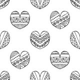 Vector hand drawn seamless pattern, decorative stylized black and white childish hearts. Doodle sketch style, graphic illustration Stock Image