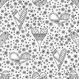 Vector hand drawn seamless pattern, decorative stylized black and white childish hearts. Doodle sketch style, graphic illustration. Background. Ornamental cute stock illustration