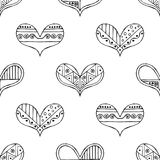Vector hand drawn seamless pattern, decorative stylized black and white childish hearts. Doodle sketch style, graphic illustration. Background. Ornamental cute vector illustration