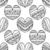 Vector hand drawn seamless pattern, decorative stylized black and white childish hearts. Doodle sketch style, graphic illustration. Background. Ornamental cute royalty free illustration