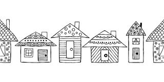 Vector hand drawn seamless pattern, decorative stylized black and white childish houses. Doodle sketch style, graphic illustration Stock Photo