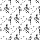 Vector hand drawn seamless pattern, decorative stylized black and white cute hearts. Doodle sketch style, graphic illustration, ba. Ckground. Ornamental cute vector illustration
