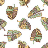 Vector hand drawn seamless pattern, decorative stylized childish feather in the shape of tree. Doodle style, tribal graphic illust Royalty Free Stock Photos