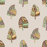 Vector hand drawn seamless pattern, decorative stylized childish feather in the shape of tree. Doodle style, tribal graphic illust Stock Images
