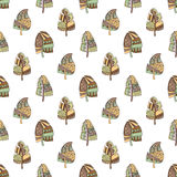 Vector hand drawn seamless pattern, decorative stylized childish feather in the shape of tree. Doodle style, tribal graphic illust Royalty Free Stock Images