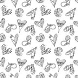 Vector hand drawn seamless pattern, decorative stylized childish hearts. Doodle style, tribal graphic illustration Cute hand drawi. Ng Series of doodle, cartoon royalty free illustration