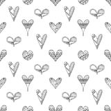 Vector hand drawn seamless pattern, decorative stylized childish hearts. Doodle style, tribal graphic illustration Cute hand drawi. Ng Series of doodle, cartoon vector illustration