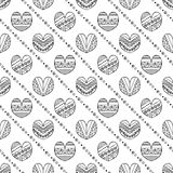 Vector hand drawn seamless pattern, decorative stylized childish hearts. Doodle style, tribal graphic illustration Cute hand drawi. Ng Series of doodle, cartoon stock illustration