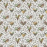Vector hand drawn seamless pattern, decorative stylized childish hearts. Doodle style, tribal graphic illustration Cute hand drawi. Ng in vintage colors. Series stock illustration