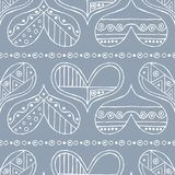 Vector hand drawn seamless pattern, decorative stylized childish hearts. Doodle style, tribal graphic illustration Cute hand drawi. Ng. Line drawing Series of vector illustration