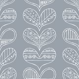Vector hand drawn seamless pattern, decorative stylized childish hearts. Doodle style, tribal graphic illustration Cute hand drawi. Ng. Line drawing Series of stock illustration