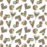 Vector hand drawn seamless pattern, decorative stylized childish hearts. Doodle style, tribal graphic illustration Cute hand drawi. Ng in vintage colors. Series royalty free illustration