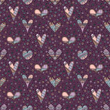 Vector hand drawn seamless pattern, decorative stylized childish hearts. Doodle style, tribal graphic illustration Cute hand drawi. Ng in pink colors. Series of vector illustration