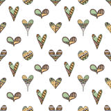 Vector hand drawn seamless pattern, decorative stylized childish hearts. Doodle style, tribal graphic illustration Cute hand drawi. Ng in vintage colors. Series vector illustration